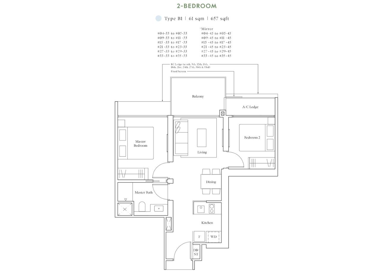 Horizon Collection - 2 Bedroom, B1