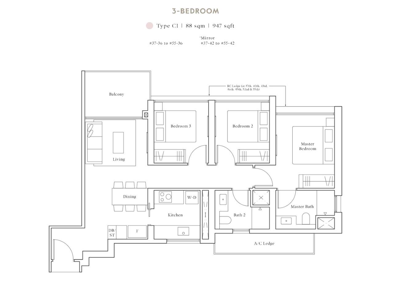 Peak Collection - 3 Bedroom, C1