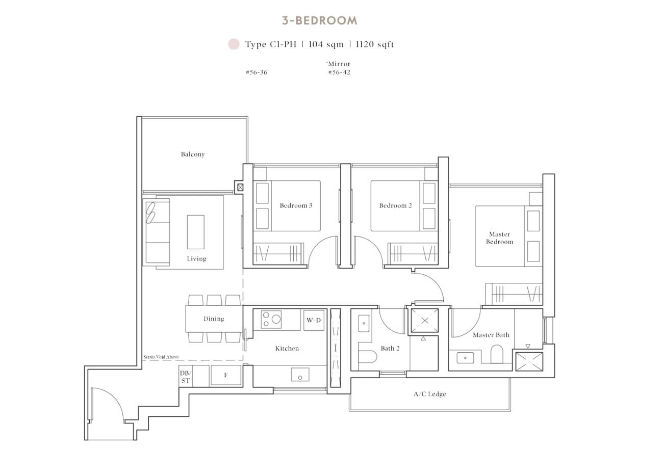 Peak PH Collection - 3 Bedroom, C1-PH