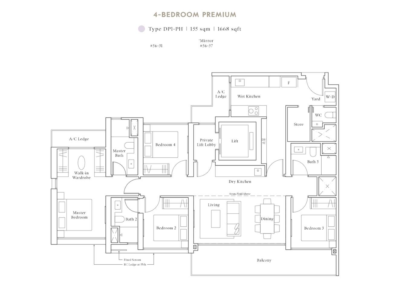 Peak PH Collection - 4 Bedroom Premium, DP1-PH